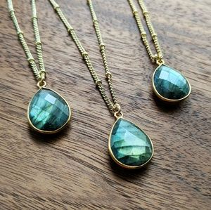 🆕Faceted Labradorite Pendant Gold-plated Necklace